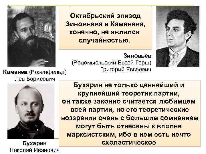 Октябрьский эпизод Зиновьева и Каменева, конечно, не являлся случайностью. Зиновьев (Радомысльский Евсей Герш) Григорий
