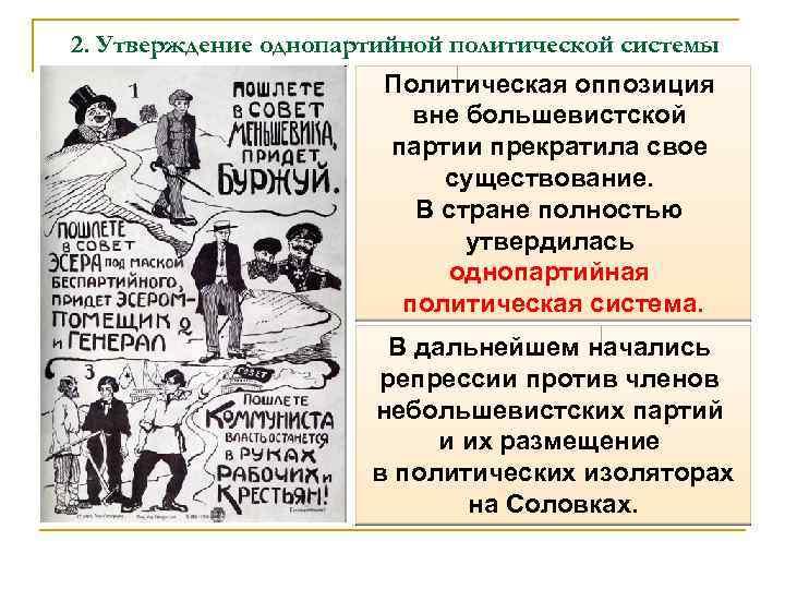 2. Утверждение однопартийной политической системы Политическая оппозиция вне большевистской партии прекратила свое существование. В