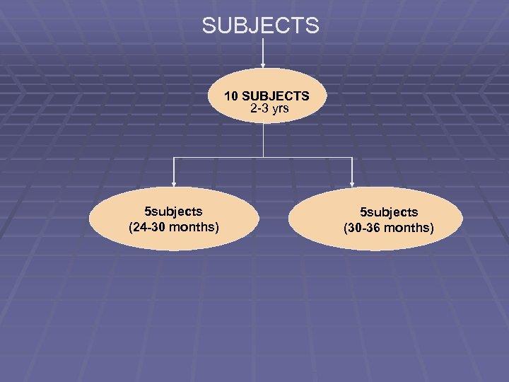 SUBJECTS 10 SUBJECTS 2 -3 yrs 5 subjects (24 -30 months) 5 subjects (30