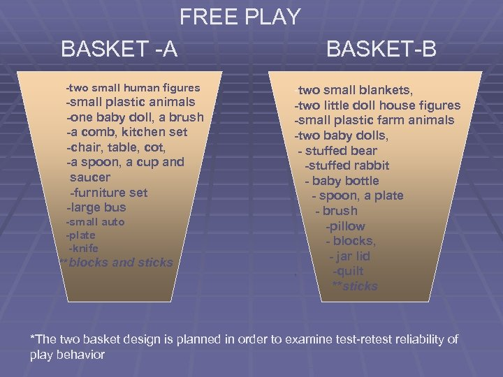 FREE PLAY BASKET -A -two small human figures -small plastic animals -one baby doll,