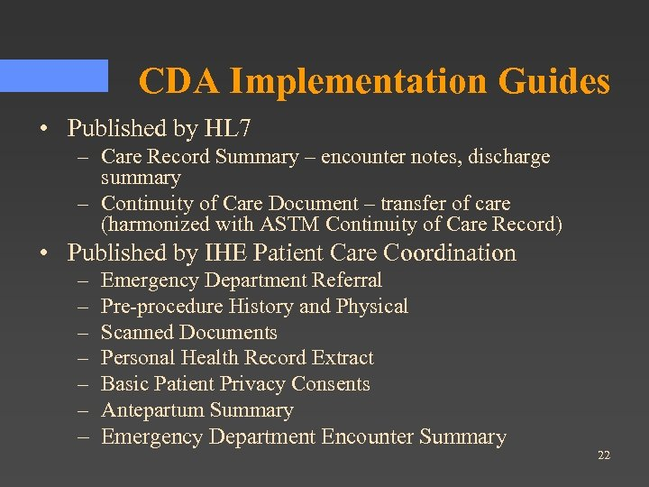 CDA Implementation Guides • Published by HL 7 – Care Record Summary – encounter