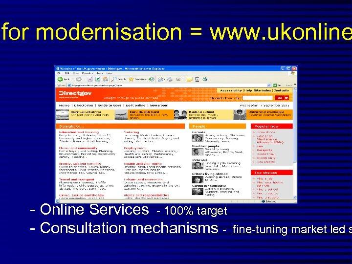 for modernisation = www. ukonline - Online Services - 100% target - Consultation mechanisms