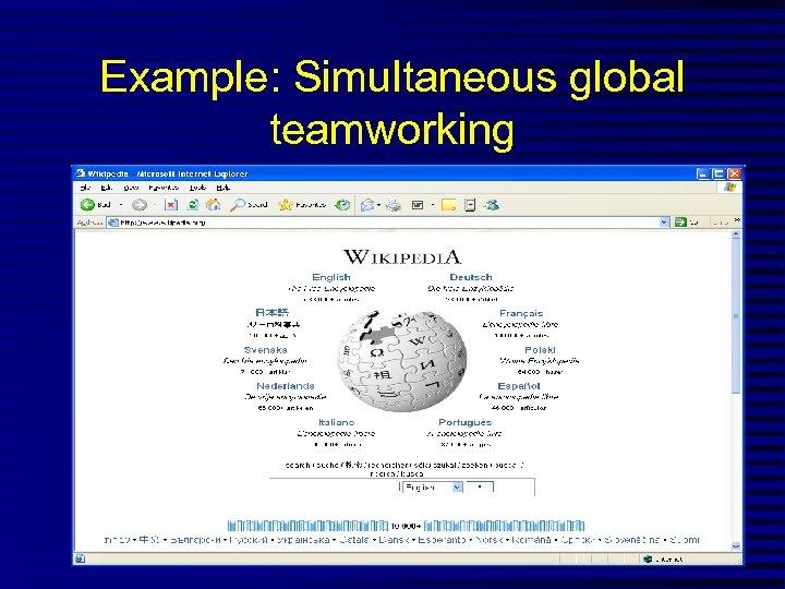 Example: Simultaneous global teamworking
