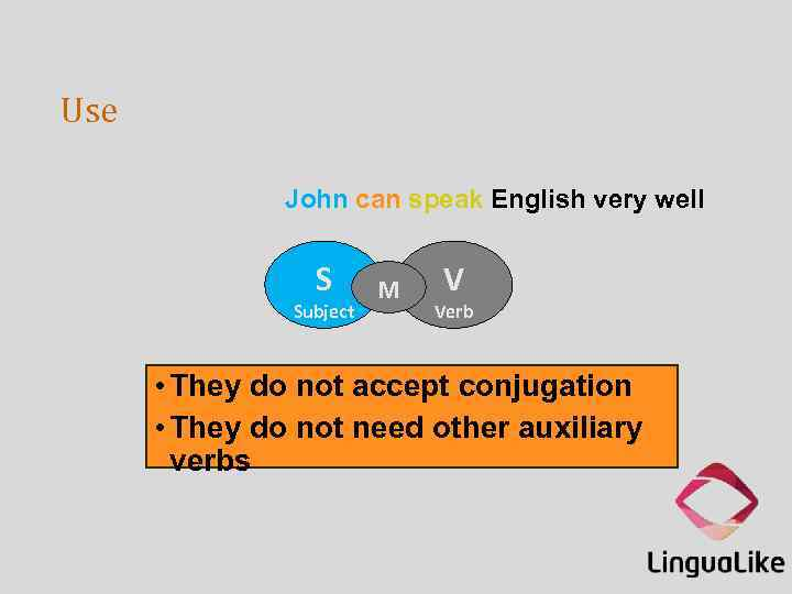 Use John can speak English very well S Subject M V Verb • They