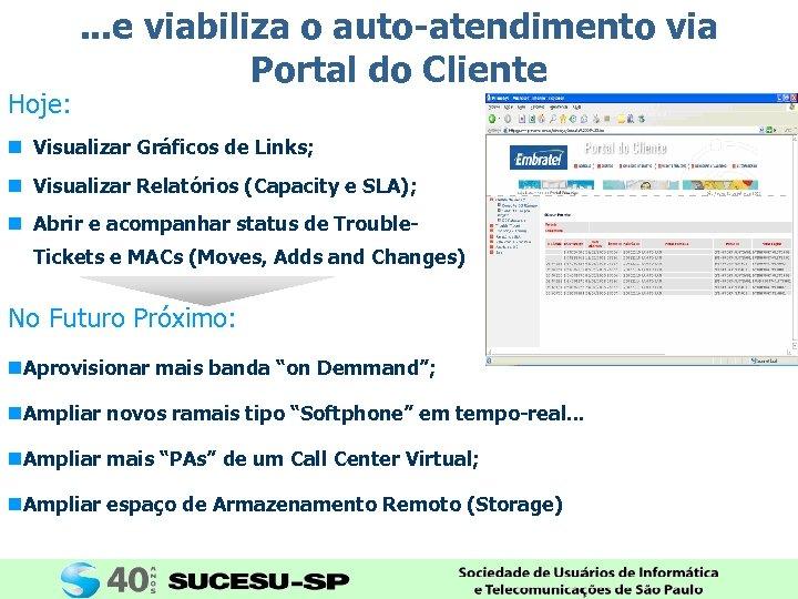 Hoje: . . . e viabiliza o auto-atendimento via Portal do Cliente n Visualizar