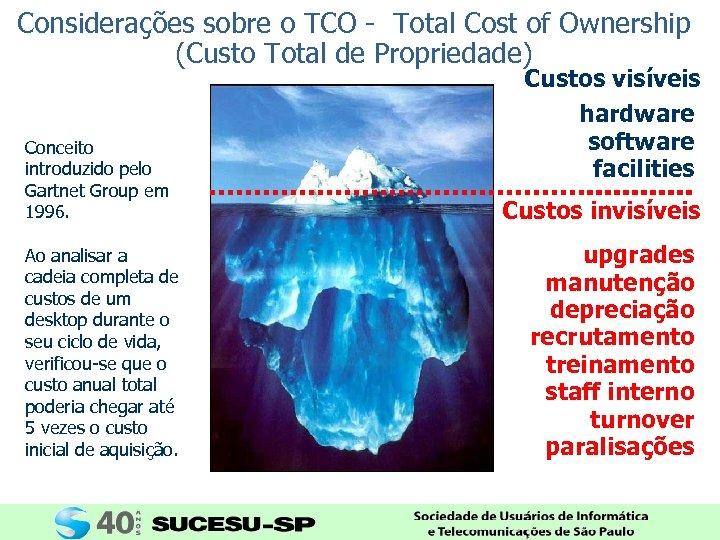 Considerações sobre o TCO - Total Cost of Ownership (Custo Total de Propriedade) Conceito