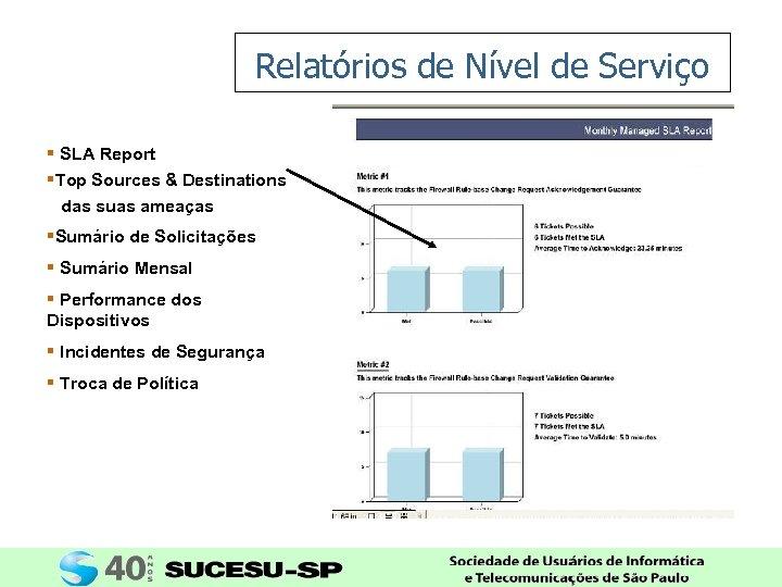 Relatórios de Nível de Serviço § SLA Report §Top Sources & Destinations das suas