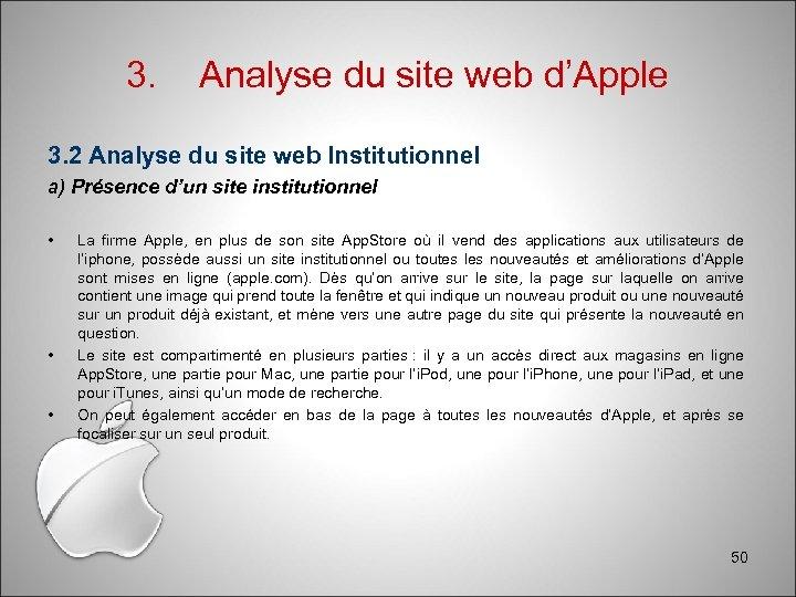 3. Analyse du site web d'Apple 3. 2 Analyse du site web Institutionnel a)