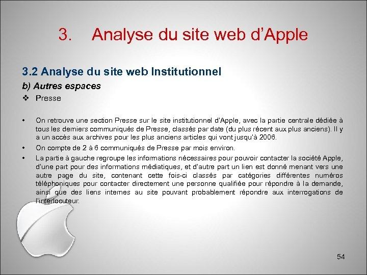 3. Analyse du site web d'Apple 3. 2 Analyse du site web Institutionnel b)