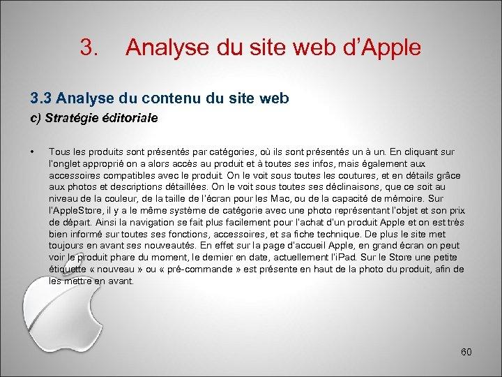 3. Analyse du site web d'Apple 3. 3 Analyse du contenu du site web