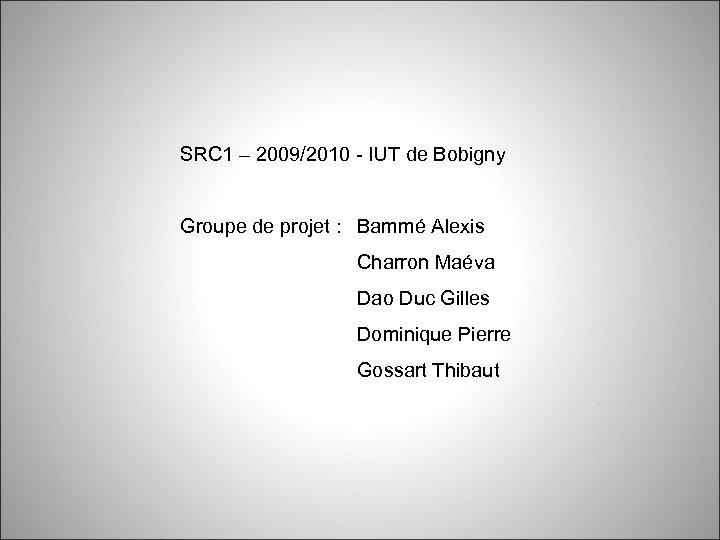 SRC 1 – 2009/2010 - IUT de Bobigny Groupe de projet : Bammé Alexis