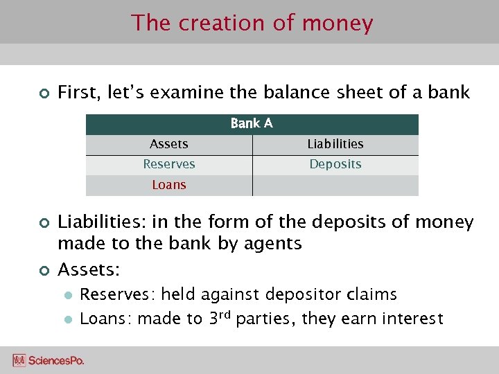 The creation of money ¢ First, let's examine the balance sheet of a bank