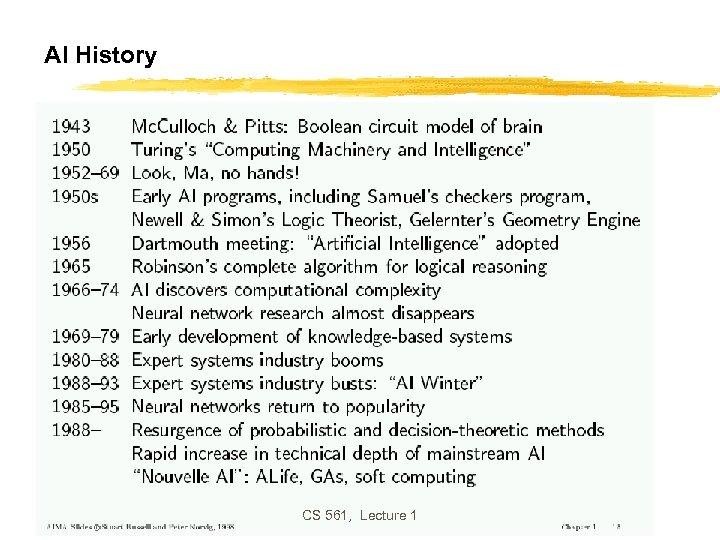 AI History CS 561, Lecture 1