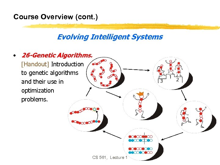 Course Overview (cont. ) Evolving Intelligent Systems • 26 -Genetic Algorithms. [Handout] Introduction to