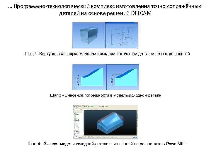 … Программно-технологический комплекс изготовления точно сопряжённых деталей на основе решений DELCAM Шаг 2 -