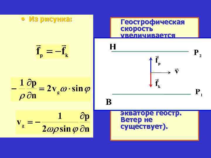 • Из рисунка: Геострофическая скорость увеличивается • 1) с высотой; • 2) с
