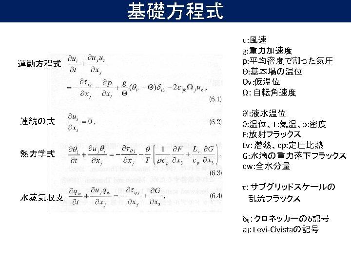 基礎方程式 運動方程式 連続の式 熱力学式 水蒸気収支 u: 風速 g: 重力加速度 p: 平均密度で割った気圧 Θ: 基本場の温位 Θv: