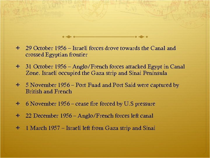 29 October 1956 – Israeli forces drove towards the Canal and crossed Egyptian