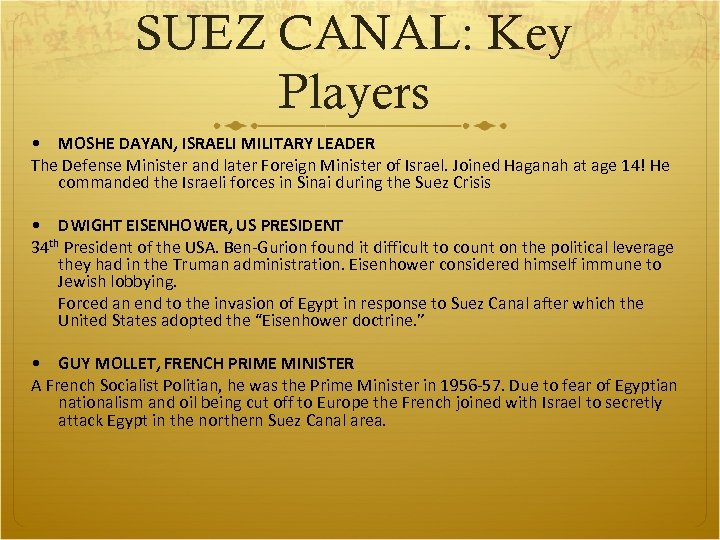 SUEZ CANAL: Key Players • MOSHE DAYAN, ISRAELI MILITARY LEADER The Defense Minister and