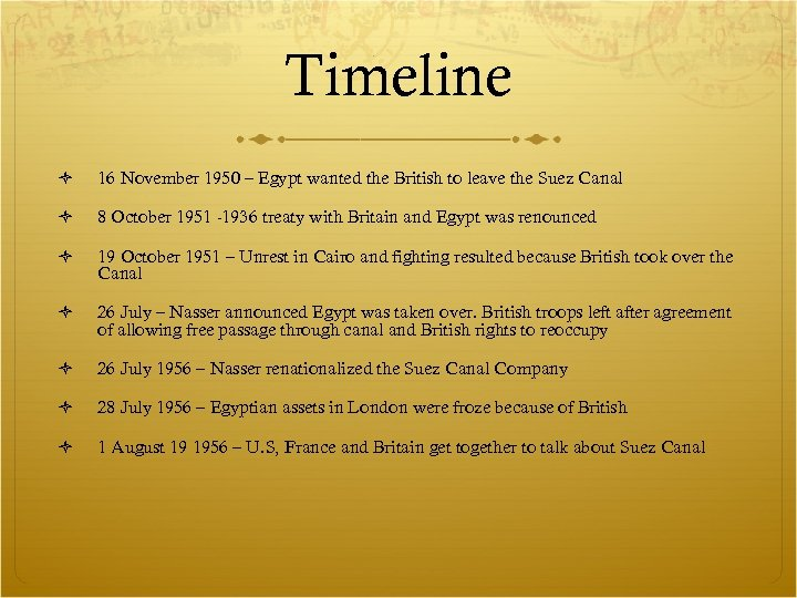 Timeline 16 November 1950 – Egypt wanted the British to leave the Suez Canal