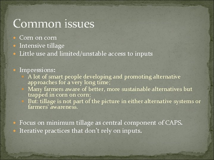 Common issues Corn on corn Intensive tillage Little use and limited/unstable access to inputs