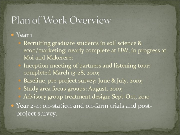Year 1 Recruiting graduate students in soil science & econ/marketing: nearly complete at