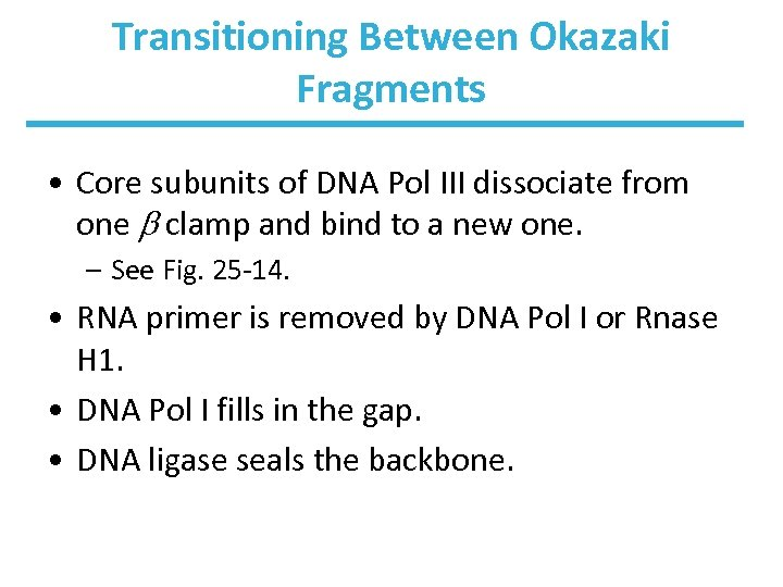 Transitioning Between Okazaki Fragments • Core subunits of DNA Pol III dissociate from one