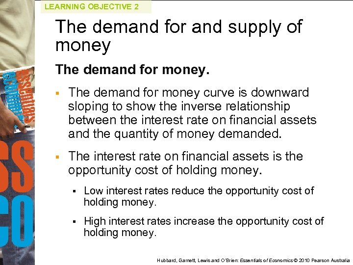 LEARNING OBJECTIVE 2 The demand for and supply of money The demand for money.