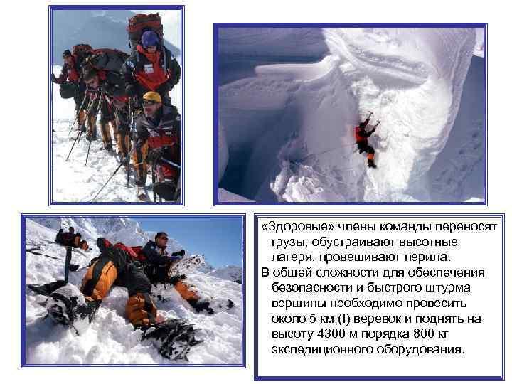 «Здоровые» члены команды переносят грузы, обустраивают высотные лагеря, провешивают перила. В общей сложности