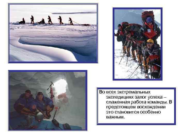 Во всех экстремальных экспедициях залог успеха – слаженная работа команды. В предстоящем восхождении это