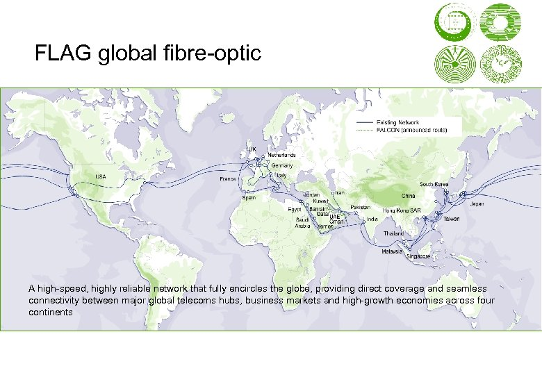 FLAG global fibre-optic A high-speed, highly reliable network that fully encircles the globe, providing