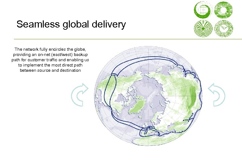 Seamless global delivery The network fully encircles the globe, providing an on-net (east/west) backup