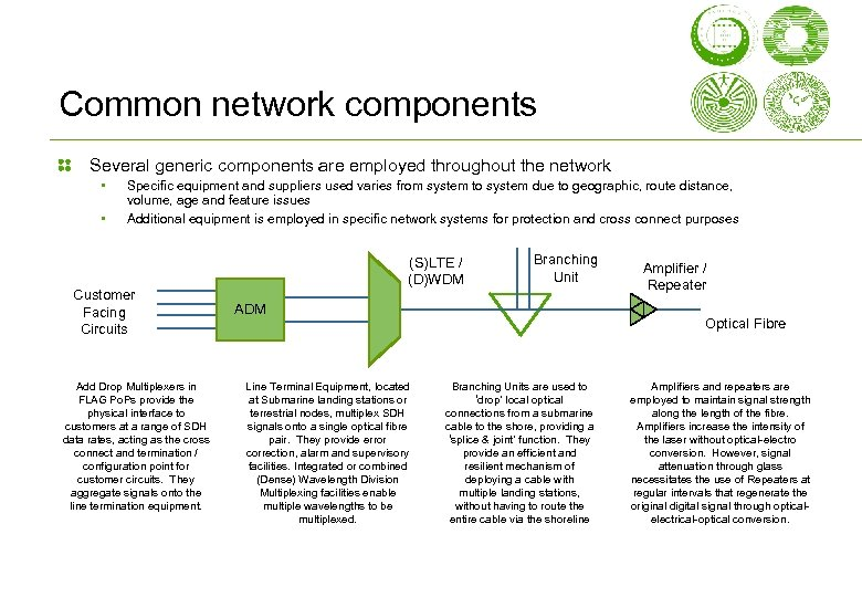 Common network components Several generic components are employed throughout the network • • Specific