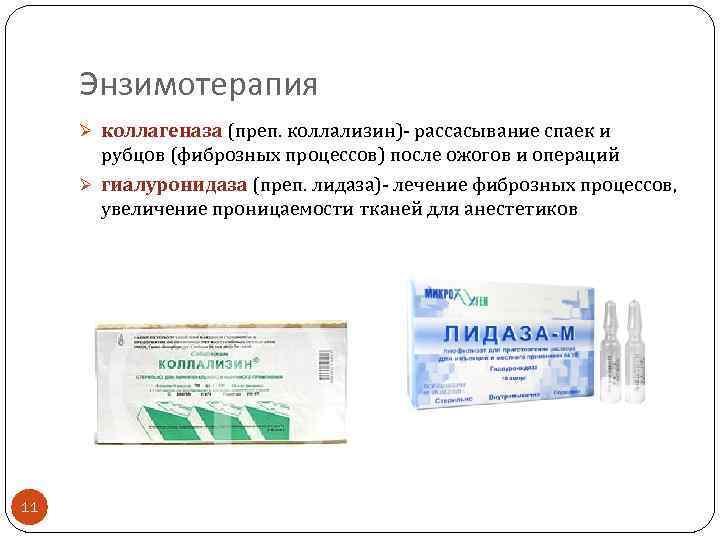 Энзимотерапия Ø коллагеназа (преп. коллализин)- рассасывание спаек и рубцов (фиброзных процессов) после ожогов и