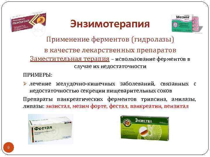 Энзимотерапия Применение ферментов (гидролазы) в качестве лекарственных препаратов Заместительная терапия – использование ферментов в