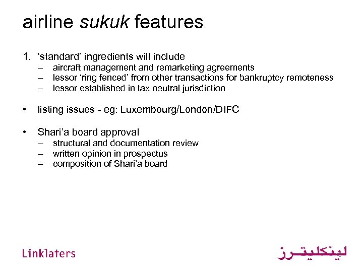 airline sukuk features 1. 'standard' ingredients will include – – – aircraft management and