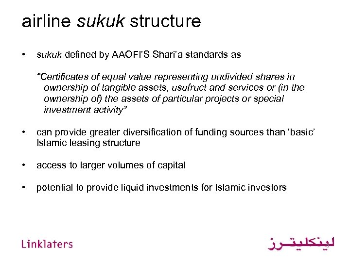 "airline sukuk structure • sukuk defined by AAOFI'S Shari'a standards as ""Certificates of equal"