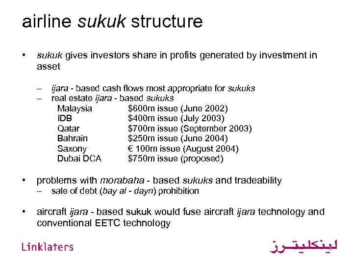airline sukuk structure • sukuk gives investors share in profits generated by investment in