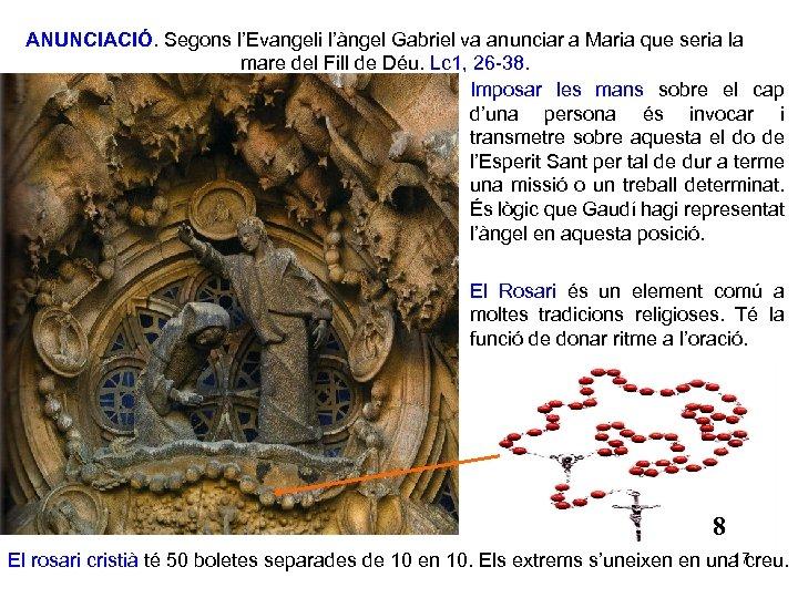 ANUNCIACIÓ. Segons l'Evangeli l'àngel Gabriel va anunciar a Maria que seria la mare del