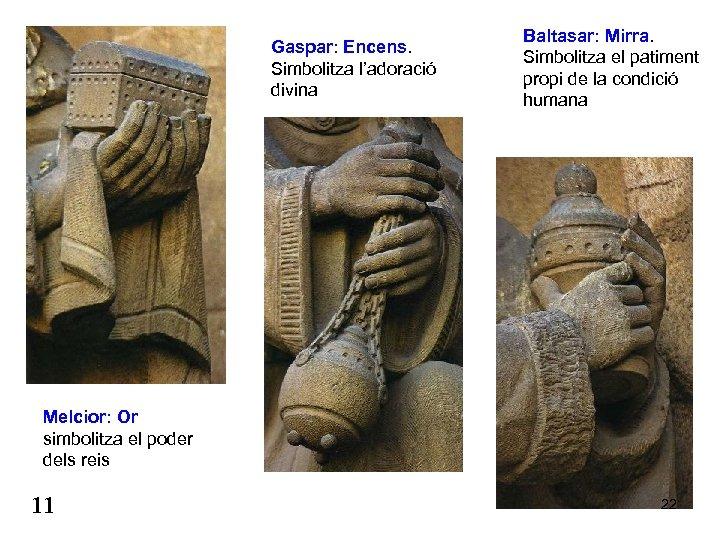 Gaspar: Encens. Simbolitza l'adoració divina Baltasar: Mirra. Simbolitza el patiment propi de la condició