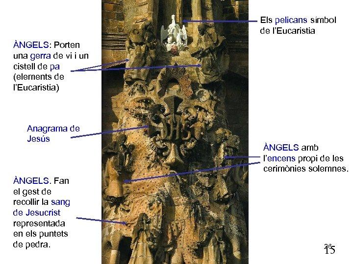 Els pelicans símbol de l'Eucaristia ÀNGELS: Porten una gerra de vi i un cistell