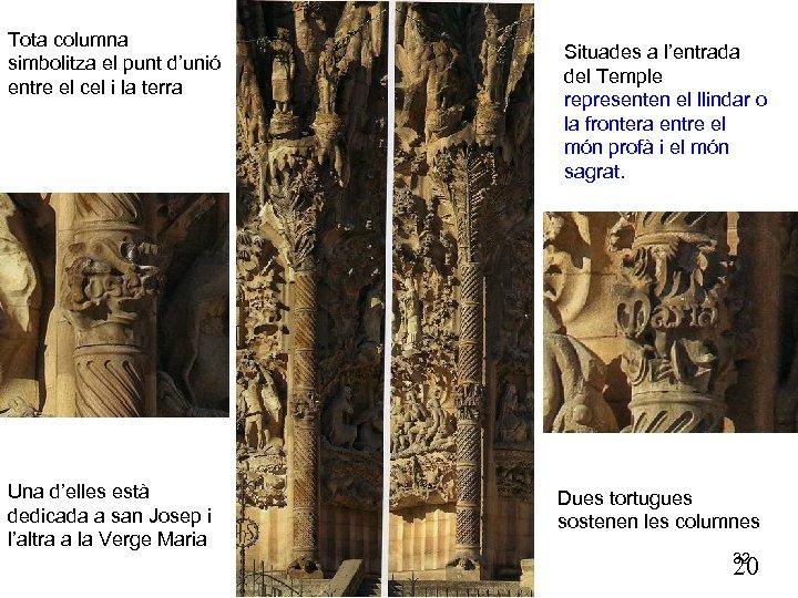 Tota columna simbolitza el punt d'unió entre el cel i la terra Una d'elles