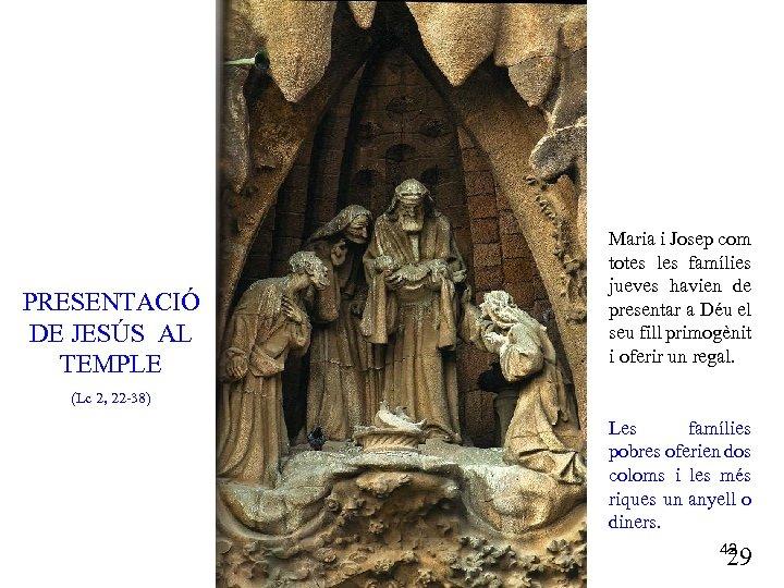 PRESENTACIÓ DE JESÚS AL TEMPLE Maria i Josep com totes les famílies jueves havien