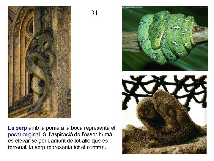 31 La serp amb la poma a la boca representa el pecat original. Si