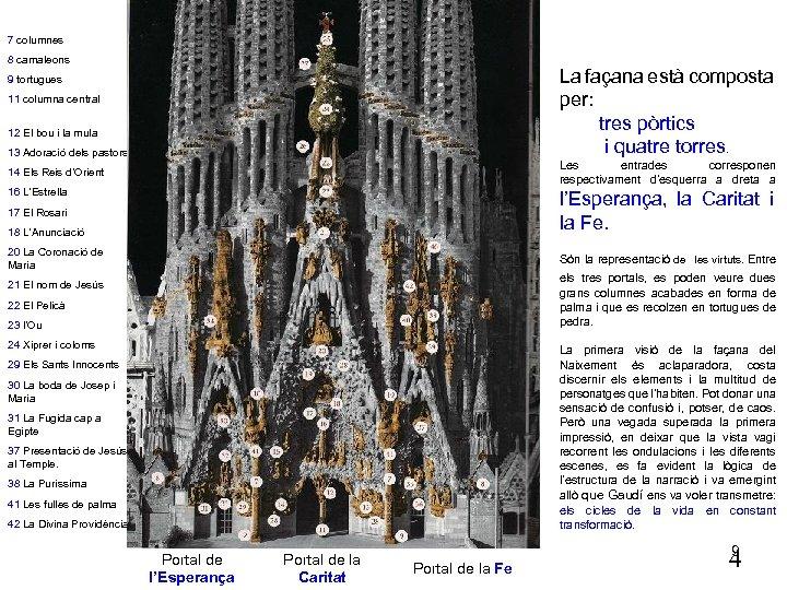 7 columnes 8 camaleons La façana està composta per: tres pòrtics i quatre torres.