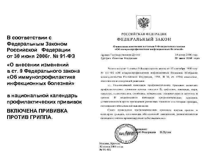 В соответствии с Федеральным Законом Российской Федерации от 30 июня 2006 г. № 91