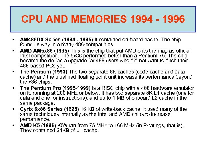 CPU AND MEMORIES 1994 - 1996 • • • AM 486 DX Series (1994