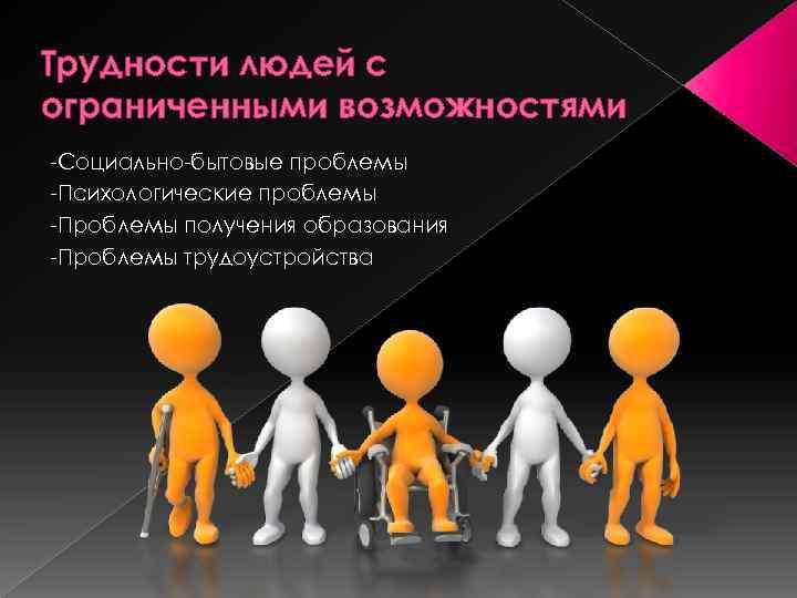 Трудности людей с ограниченными возможностями -Социально-бытовые проблемы -Психологические проблемы -Проблемы получения образования -Проблемы трудоустройства