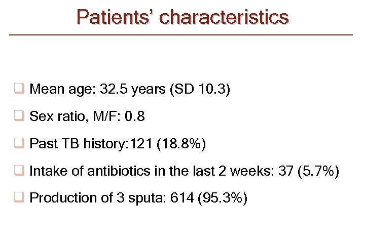 Patients' characteristics q Mean age: 32. 5 years (SD 10. 3) q Sex ratio,