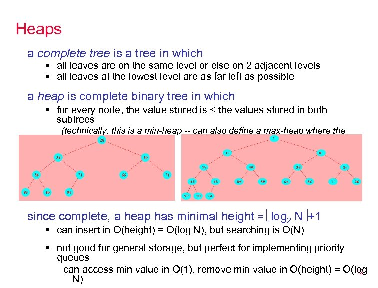 Heaps a complete tree is a tree in which § all leaves are on